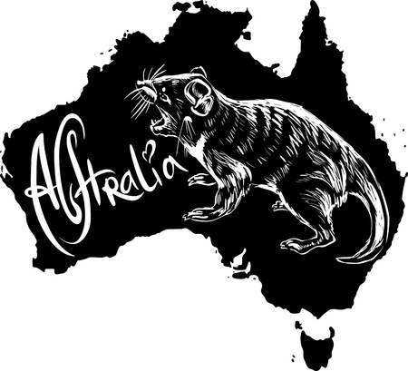 Tasmanian devil (Sarcophilus harrisii) on map of Australia. Black and white vector illustration. Vector