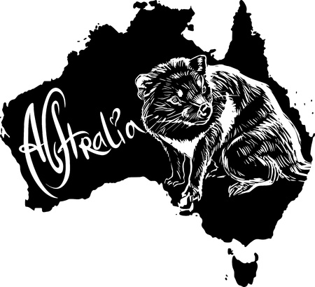Tasmanian devil (Sarcophilus harrisii) on map of Australia. Black and white vector illustration. Stock Vector - 15783349