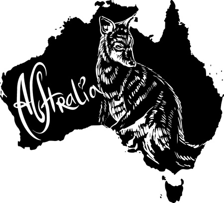 wallaby: Wallaby on map of Australia. Black and white vector illustration.