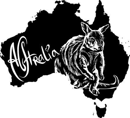 Wallaby on map of Australia. Black and white vector illustration. Vector