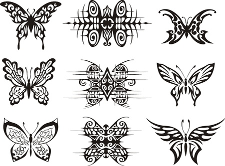 Set of symmetric butterfly tattoos. EPS vector illustrations. Vector
