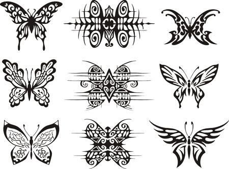 Set van symmetrische vlinder tatoeages. EPS vector illustraties.