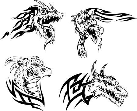 Dragon heads - tattoo designs. Set of vector illustrations.