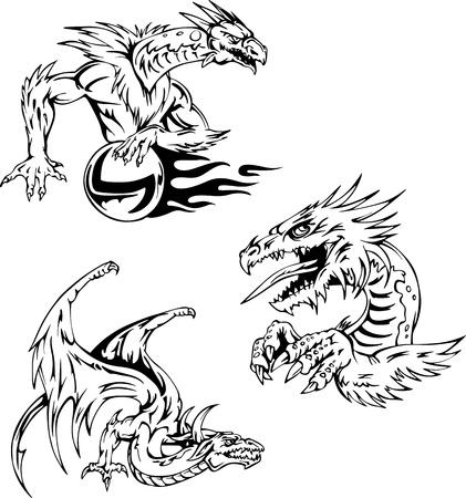 tatuaje dragon: Drag�n del tatuaje dise�os. Conjunto de ilustraciones vectoriales.