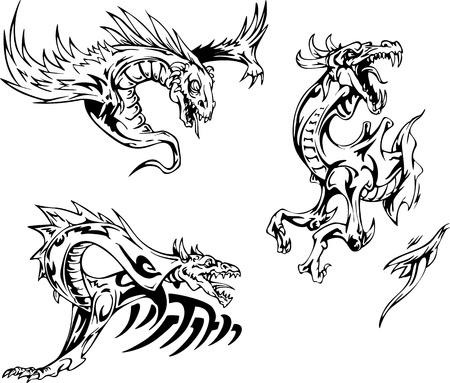 drago alato: Dragon Tattoo disegni. Set di illustrazioni vettoriali. Vettoriali