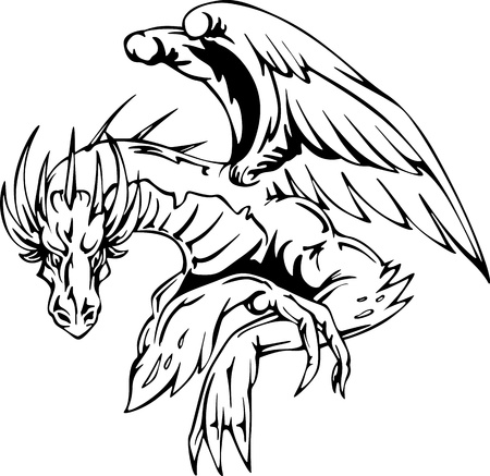 Dragon sitting - tattoo design. EPS vector illustration. Vector