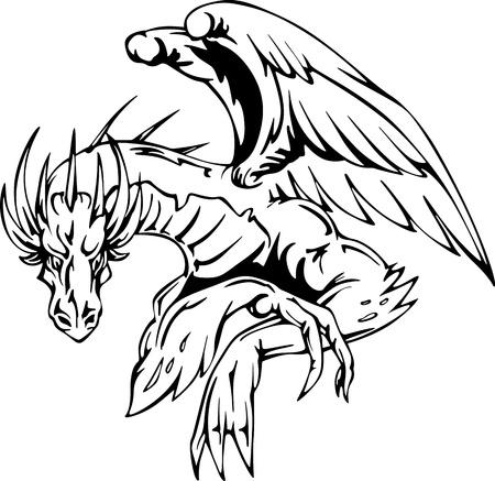 winged dragon: Dragon sitting - tattoo design. EPS vector illustration. Illustration