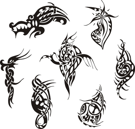 Tribal tattoo designs. Set of vector illustrations. Vector