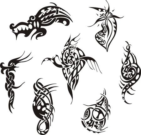 tribal tattoo: Tribal tattoo designs. Set of vector illustrations.