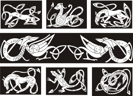 Celtic knot patterns with animals. Set of vector illustrations.