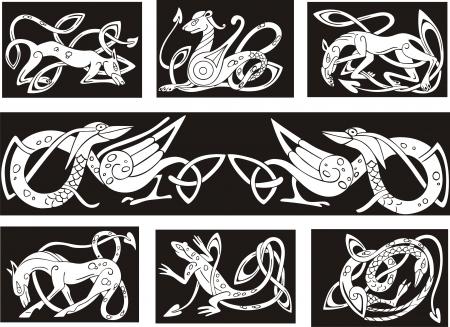 illumination: Nudo celta patrones con animales. Conjunto de ilustraciones vectoriales.