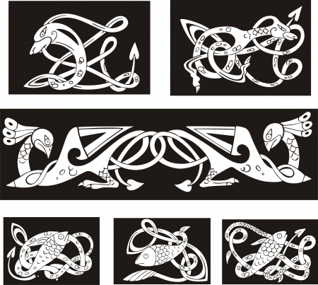 Animalistic celtic knot patterns. Set of vector illustrations. Stock Vector - 15783354