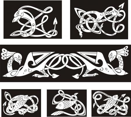 bird  celtic: Animalistic celtic knot patterns. Set of vector illustrations. Illustration