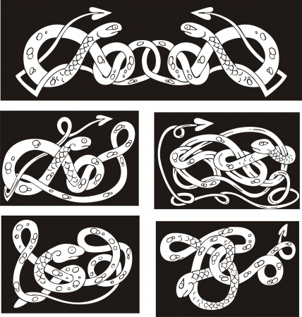 Celtic knot patterns with snakes. Set of vector illustrations. Stock Vector - 15783351
