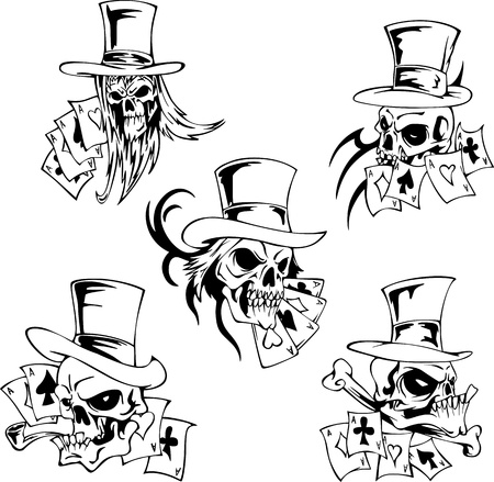 Skulls with playing cards. Set of vector illustrations. Vector