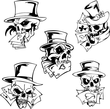 Skulls with playing cards. Set of vector illustrations. 向量圖像