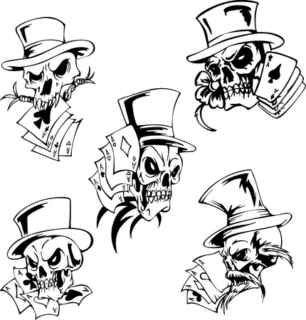 Skulls with playing cards. Set of vector illustrations. Stock Vector - 15783340