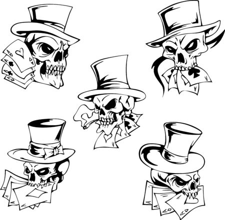 ardour: Skulls with playing cards. Set of vector illustrations. Illustration
