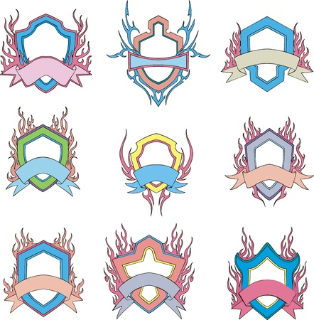 motto: Stylized shields with motto ribbons. Templates. Set of vector illustrations.