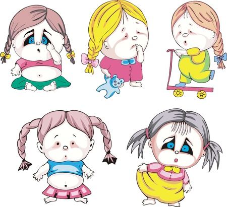 Funny kids - girls with braids. Set of color vector illustrations. Stock Vector - 16331230