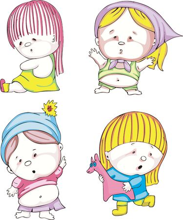 Funny kids - girls. Set of color vector illustrations. Stock Vector - 16331242