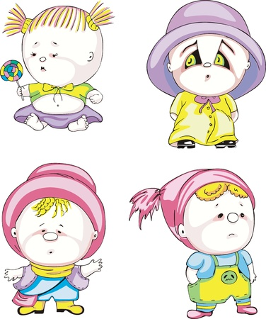 Funny kids - girls. Set of color vector illustrations. Stock Vector - 16331232