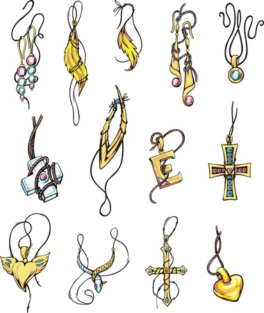 Set of jewelry. Color vector illustrations. Vector