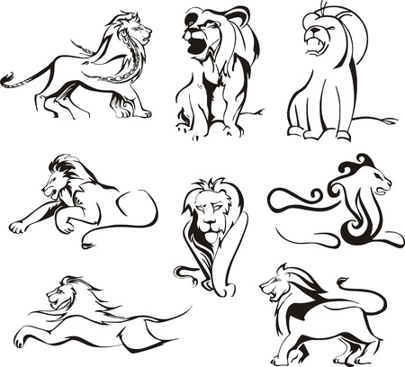 predatory: Stylized lions. Set of black and white Illustration