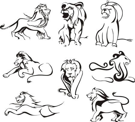 felidae: Stylized lions. Set of black and white Illustration