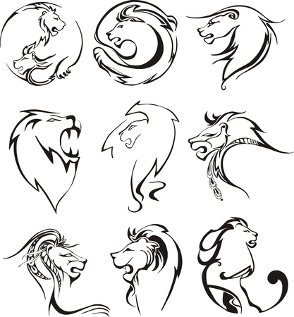 animal head: Stylized lion heads. Set of black and white vector illustrations.