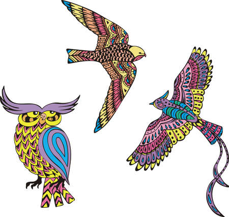 motley: Stylized motley birds. Set of color vector illustrations.