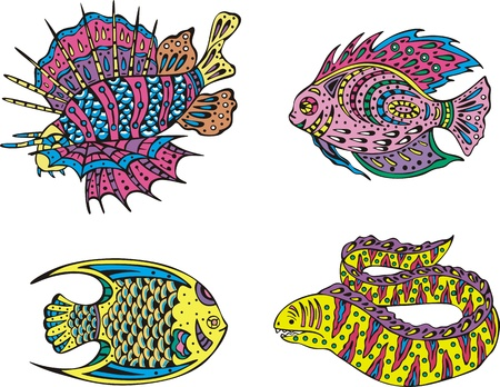 moray: Stylized motley fish. Set of color vector illustrations.