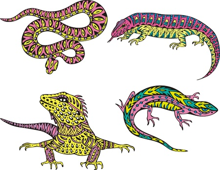 Stylized motley snake and lizards. Set of color vector illustrations. Stock Vector - 16331228