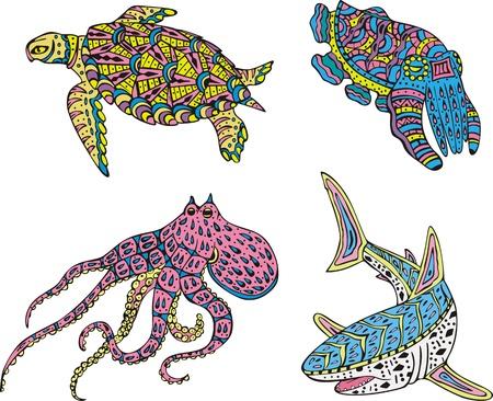 motley: Stilizzati multicolori mare animali. Illustrazioni a colori.