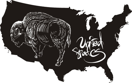American buffalo and U.S. outline map. Black and white vector illustration. Bison bison. Stock Vector - 16549979