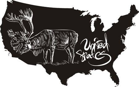 Caribou and U.S. outline map. Black and white vector illustration. Rangifer tarandus. Stock Vector - 16554577