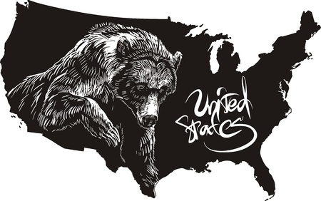 Grizzly bear and U.S. outline map. Black and white vector illustration. Ursus arctos horribilis.