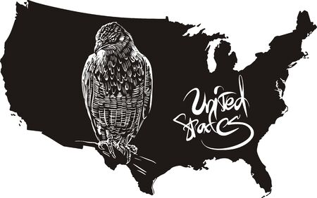 goshawk: Hawk and U.S. outline map. Black and white vector illustration.