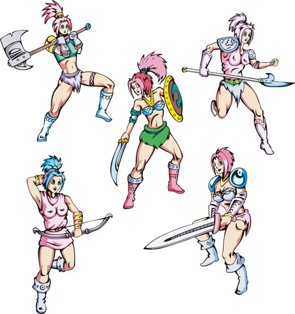 Dangerous fascinating amazons. Set of color vector illustrations. Vector