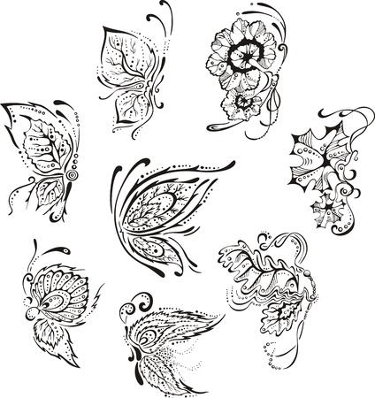 装飾用花蝶。黒と白のベクトル画像のセット。