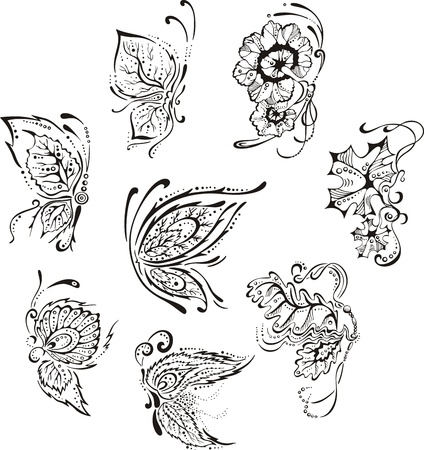 flying leaves: Ornamental floral butterflies. Set of black and white vector images.
