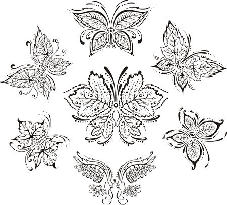 Symmetrical floral butterflies. Set of black and white vector ornamental images. Vector