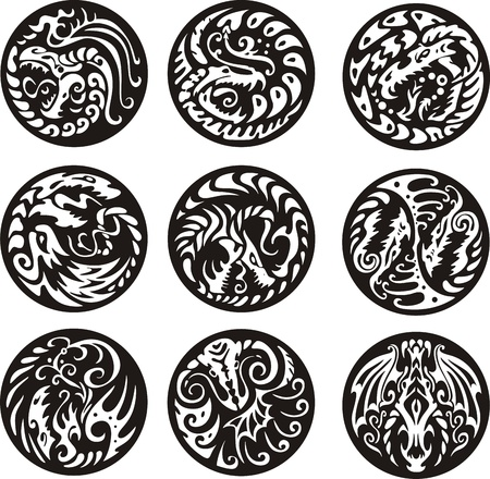 round: Round dragon designs. Set of black and white vector emblems.