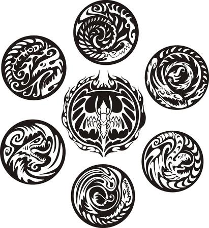 dragon tribal: Rondes motifs de dragons. Jeu de logos vectoriels en noir et blanc. Illustration