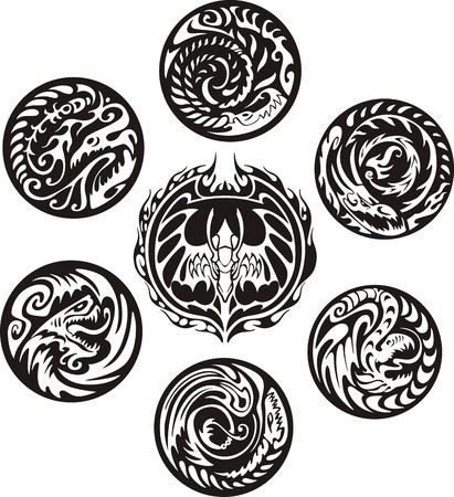 tribal dragon: Round dragon designs. Set of black and white vector emblems.