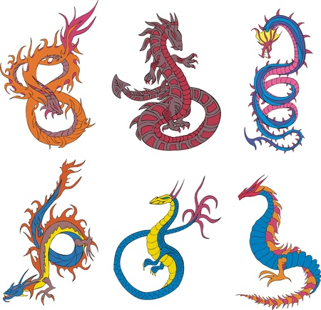 mythical: Long japanese dragon worms. Set of color vector illustrations.