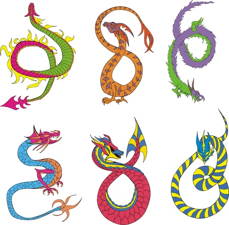 Long japanese dragon worms. Set of color vector illustrations. Stock Vector - 16668791
