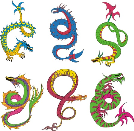 Long japanese dragon worms. Set of color vector illustrations. Vector