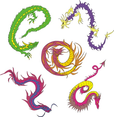 Long japanese dragon worms. Set of color vector illustrations.