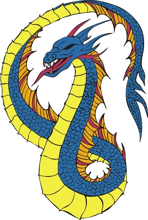 Long japanese dragon worm. Color vector illustration.